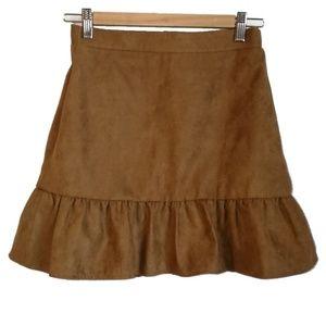 3/30$ J. Crew Faux Suede Brown Ruffled Mini Skirt